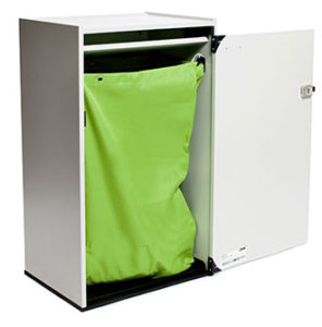 All-in-One: High Performance Collection Bag being used on a Ergo Duraflex Cabinet Angled view. - All Source Products