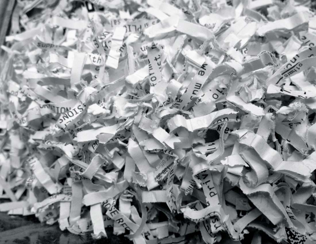 Photograph of Shredded document Paper - All Source